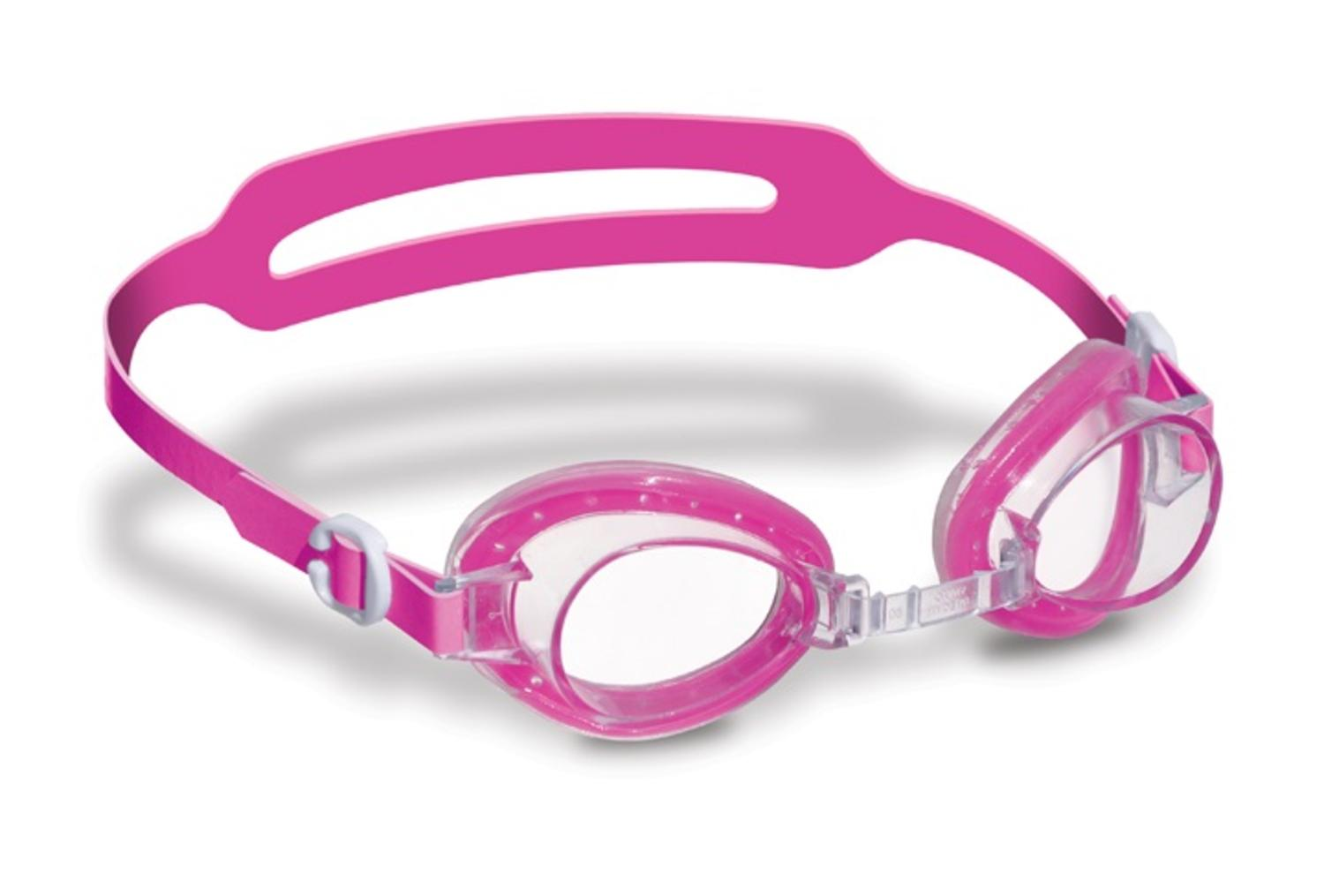"6"" Pink Jelly Goggles with Clear Case Swimming Pool Accessory for Kids Age 4+ Years by Swim Central"