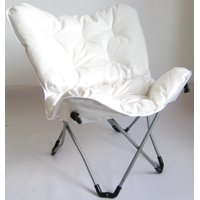 Zenithen Butterfly Chair with High Gloss Silver Frame in White Tufted Velvet Fabric