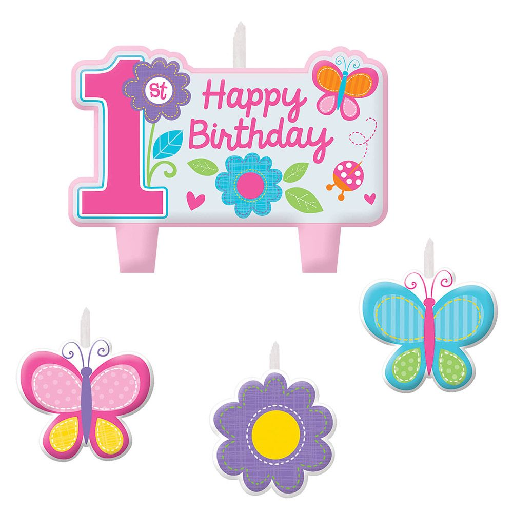 Sweet 1st Birthday Girl Candle Set (4 Pack) - Party Supplies