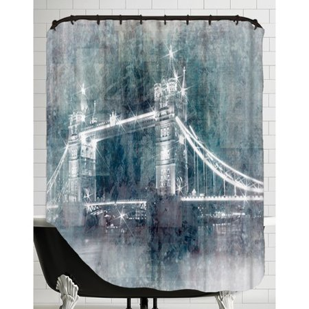 East Urban Home Digital Art Tower Bridge At Night Shower Curtain