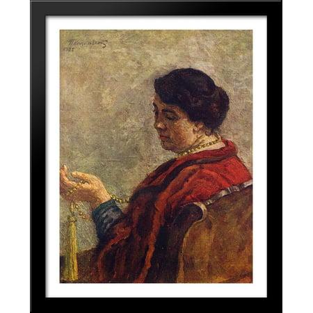 Portrait of Olga Konchalovsky, the artist's wife (with red beads) 28x36 Large Black Wood Framed Print Art by Pyotr Konchalovsky