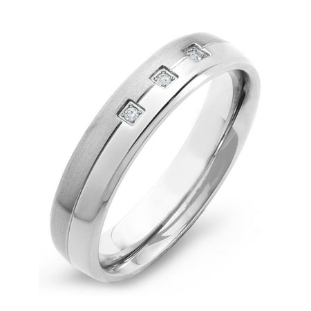 Titanium 0.05 CTW Diamond Dual Finished Band Ring (H-I, SI2)