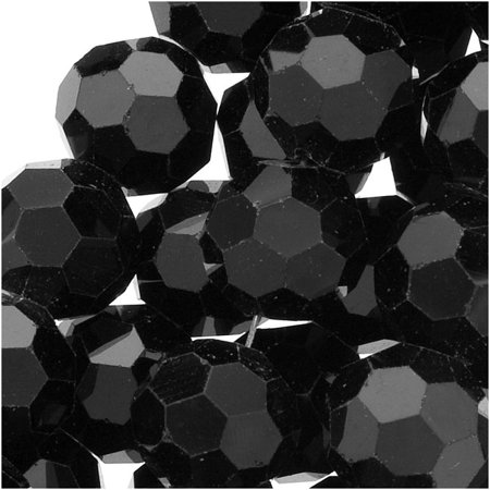 Jet Black Glass Faceted Round Beads 8mm (14.5 Inch Strand) - Bead Strands