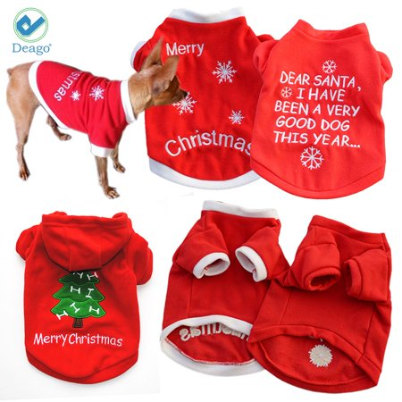 Deago Dog Christmas Pompon Hoodie Pet Clothes for Holiday Festival Party Sweater Costume For Small to Medium Dogs