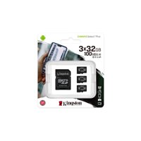 Kingston 32GB microSDHC Canvas Select Plus 100MB/s Read A1 Class10 UHS-I 3-Pack Memory Card + Adapter (SDCS2/32GB-3P1A)