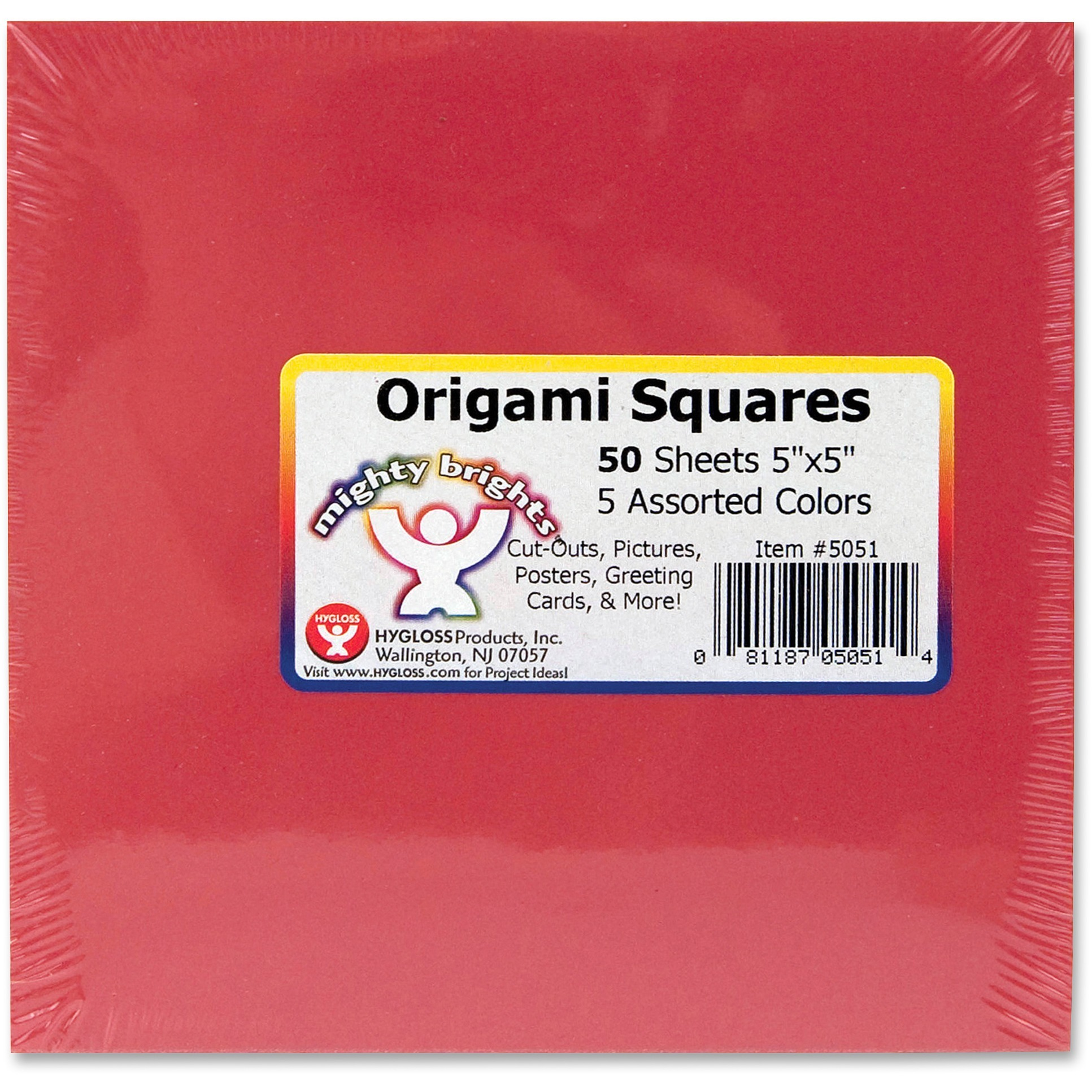 Hygloss, HYX5051, Mighty Brights Origami Squares, 1 Pack, Assorted