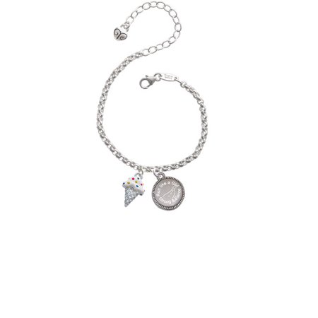 2-D Vanilla Ice Cream Cone with Sprinkles Run Like a Girl - Strong and Fierce Engraved Bracelet - Vanilla Girl
