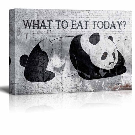 wall26 Canvas Wall Art - Panda Pondering What to Eat Today - Gallery Wrap Modern Home Decor | Ready to Hang - 16x24 (Prada Home)