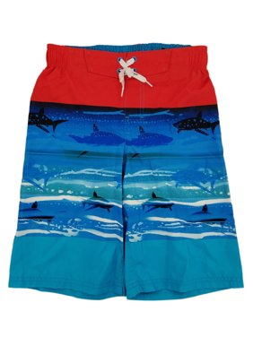 26c83390a5 Product Image Boys Orange & Blue Shark Print Surf Shorts Swim Trunks Board  Shorts