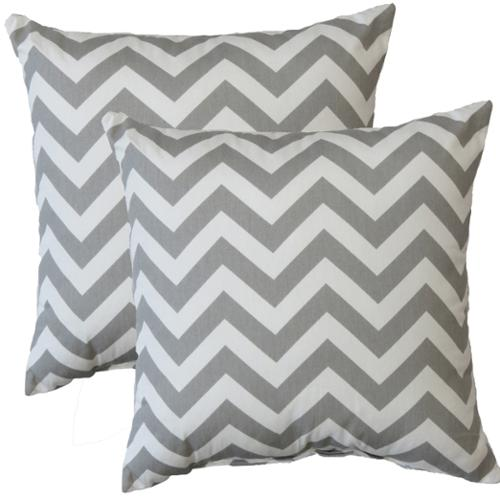 FHT Premiere Home Chevron Storm 17-inch Throw Pillow - Set of 2