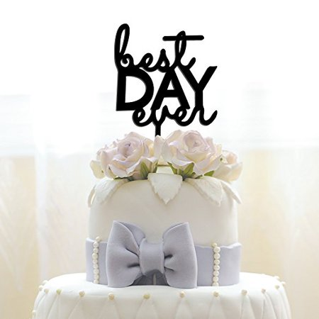 JennyGems Wedding & Anniversary Acrylic Cake Topper - Best Day Ever - Birthday Party & Special
