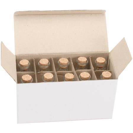 Mini Glass Bottles with Cork, 50ml, 10pk, (Fancy Glass Bottle)