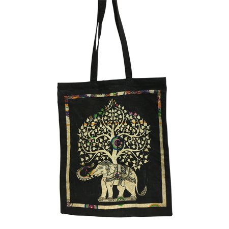 Indian Ethnic Block Printing Elephant Tree Design Cotton Shopping Tote Handbag