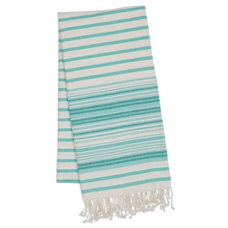 Design Imports Aqua Mint Stripe Fouta Towel