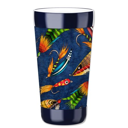 Mugzie 16-Ounce Tumbler Drink Cup with Removable Insulated Wetsuit Cover - Fly Fishing (Button Fly Wool Suit)