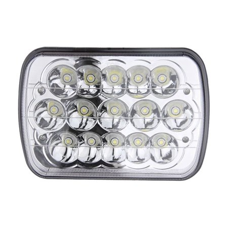 7x6 INCH 45W Sealed Beam Rectangular LED Headlights 5X7 H4 Plug H6054 Freightliner 50 60 70 80 for Jeep Wrangler JK YJ CJ TJ MJ XJ Cherokee