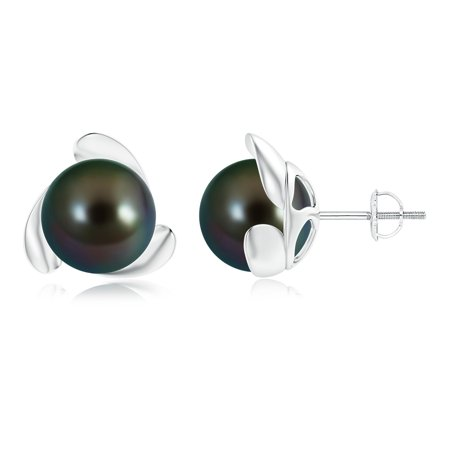 June Birthstone Earrings - Tahitian Cultured Pearl Flower Stud Earrings in 14K White Gold (10mm Tahitian Cultured Pearl)- SE1232THPR-WG-AAAA-10
