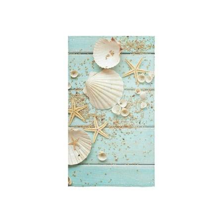 ZKGK Starfish Seashell on Wooden Hand Towel Bath Bathroom Shower Towels -