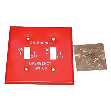 Mulberry 41002 Flush Mount Standard Size GFCI Isolated Ground 2-Gang Toggle Switch Box Oil Burner Plate (2) Switch Red With Silk Screened White Letters