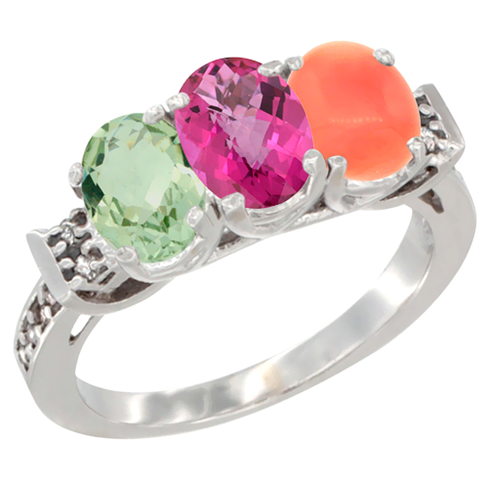 10K White Gold Natural Green Amethyst, Pink Topaz & Coral Ring 3-Stone Oval 7x5 mm Diamond Accent, sizes 5 10 by WorldJewels