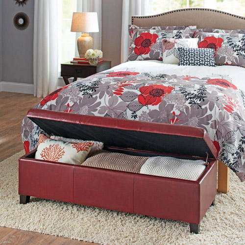 Better Homes and Gardens Faux Leather Storage Ottoman, Multiple Colors