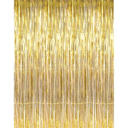 3' x 8' Gold Tinsel Foil Fringe Door Window Curtain Party Decoration - Damask Decorations Party