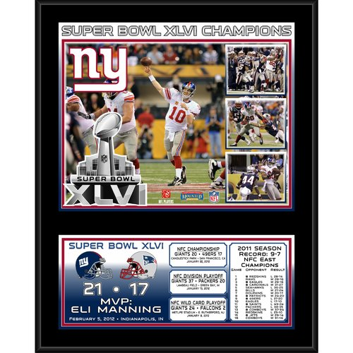 Mounted Memories NFL New York Giants Super Bowl XLVI Sublimated Framed Memorabilia