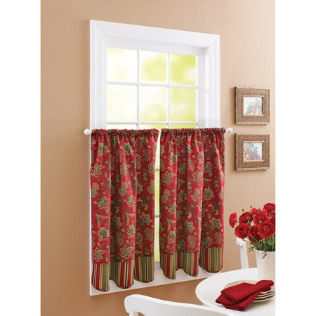 Better homes and gardens stripes and blooms window tiers Better homes and gardens curtains