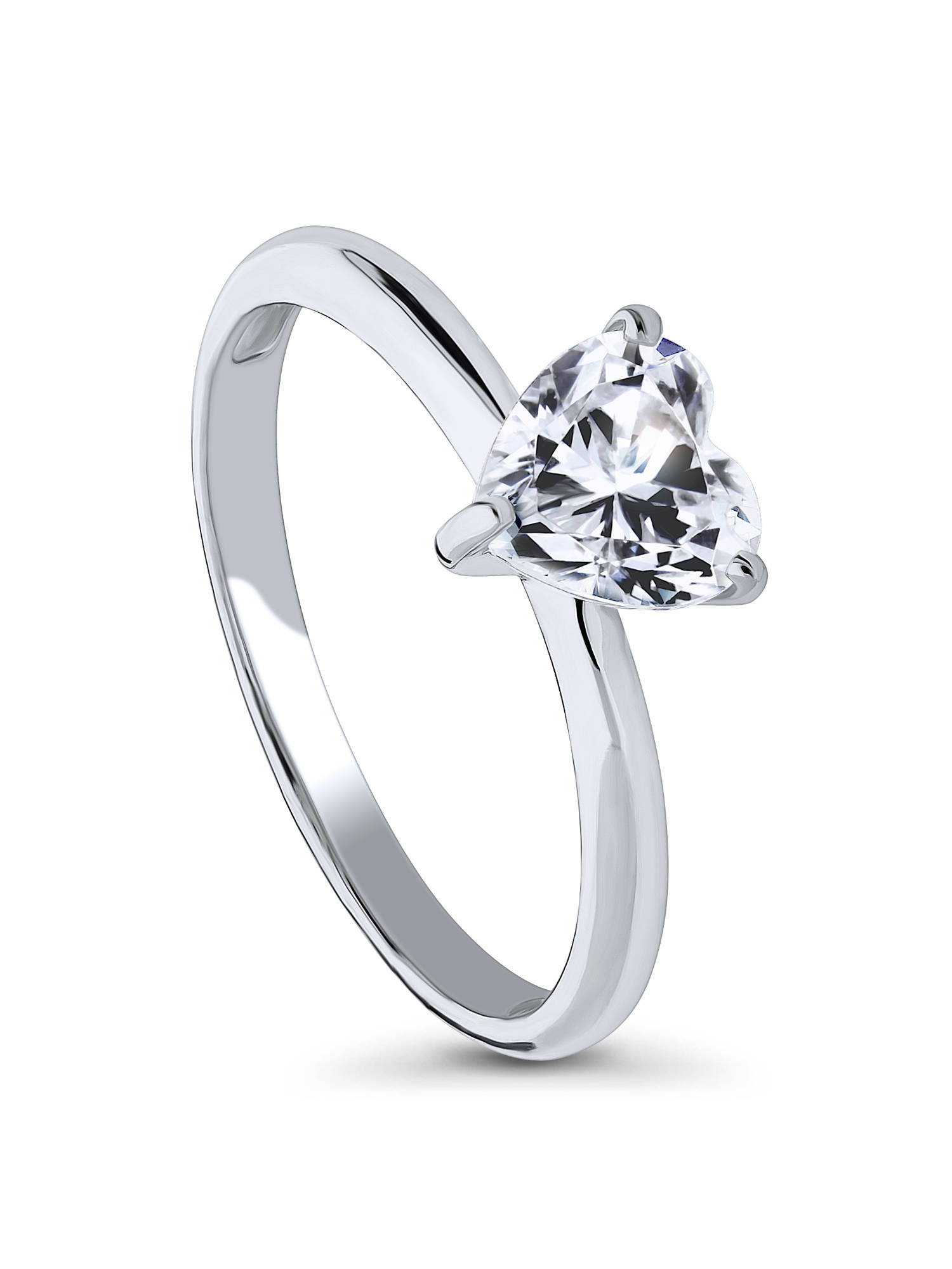 Rhodium Plated Silver Heart Shaped Cubic Zirconia CZ Solitaire Promise Engagement Ring Size 10.5