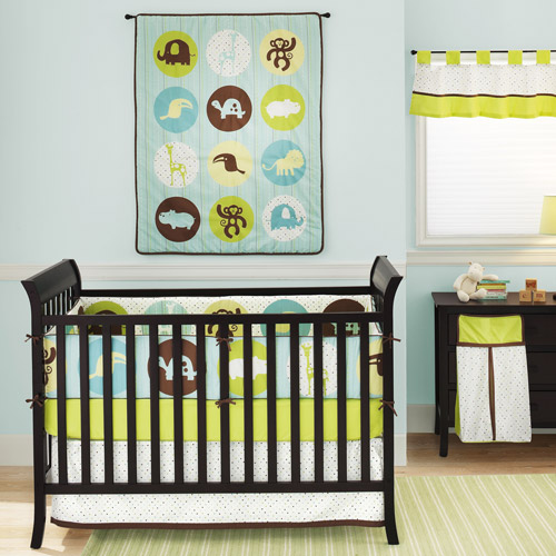 Chelsea & Main - Dot and Dash Safari 4-Piece Crib Bedding Set, Blue