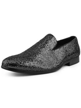 Amali Mens Sequin Barnes Slip-On Smoking Slipper Loafer