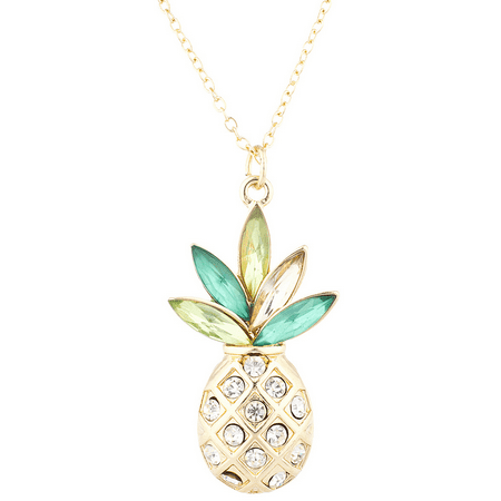 Lux Accessories Gold Tone Crystal Green Rhinestone PIneapple Pendant Necklace ()