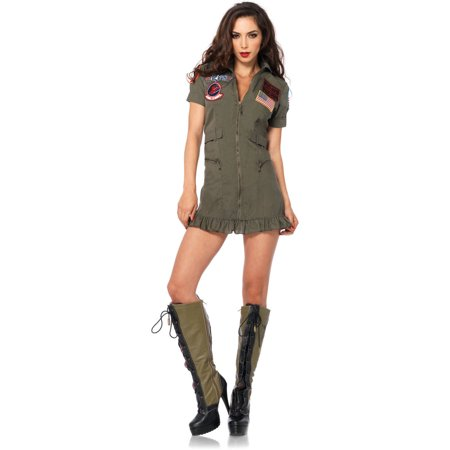 Leg Avenue Top Gun Flight Dress Adult Halloween - Halloween Skull Makeup Guy