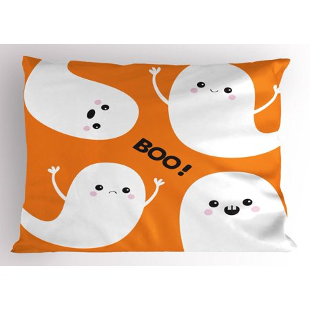Ghost Pillow Sham, Flying Ghost Spirit Characters with Childish Smiling Sad Faces on Orange, Decorative Standard Size Printed Pillowcase, 26 X 20 Inches, Orange Black White, by Ambesonne - Ghost Characters