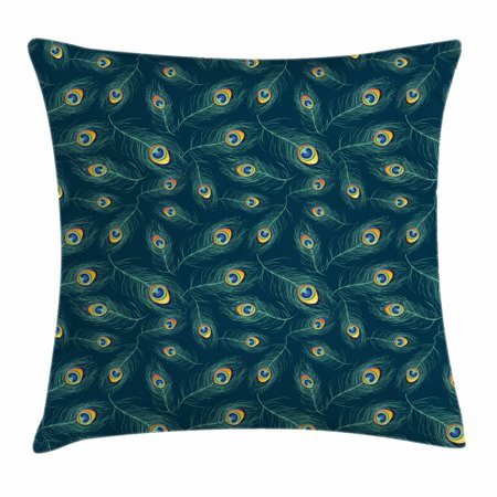 Feather Throw Pillow Cushion Cover, Colorful Middle Eastern Exotic Peacock Feather Motifs on a Dark Toned Background, Decorative Square Accent Pillow Case, 20 X 20 Inches, Multicolor, by Ambesonne