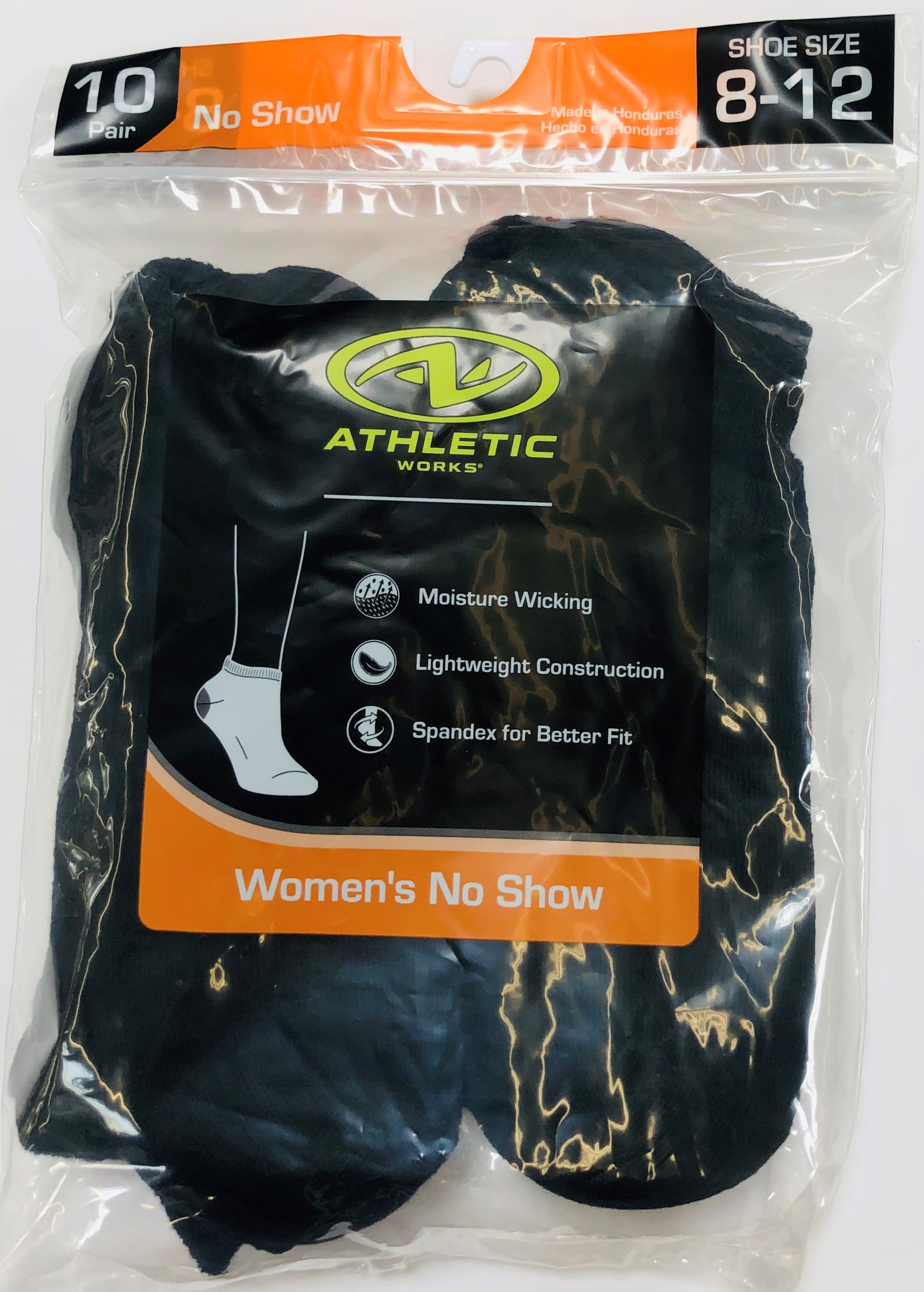Athletic Works Women's Flat-Knit No Show Socks, 10 Pairs