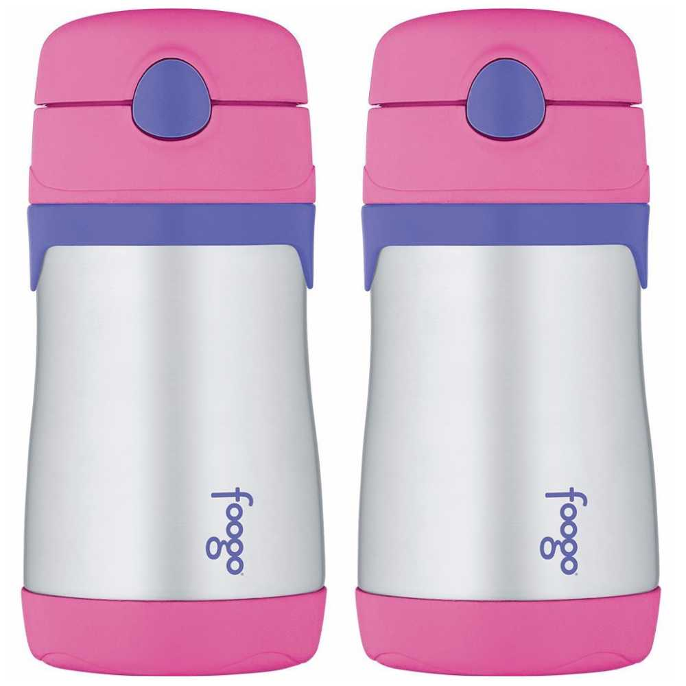 Thermos Foogo Stainless Steel Straw Bottle, 10 Ounce - 2 Pack (Pink/Purple)