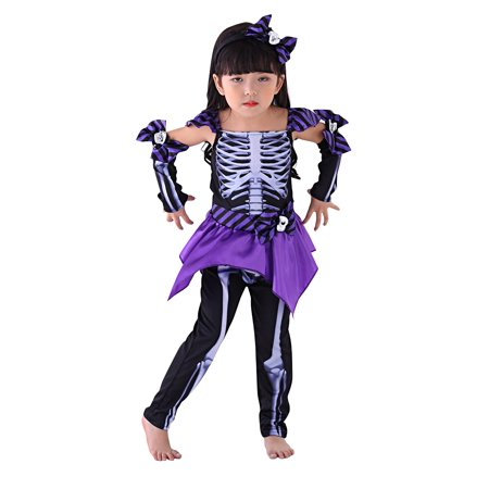 So Sydney Kids, Toddler, Girls' Deluxe Purple Skeleton Girl Halloween Costume or Outfit - Geisha Halloween Outfits