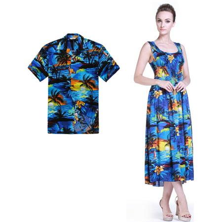 Couple Matching Hawaiian Luau Aloha Shirt Plus Size Maxi Tank Dress in  SunBlue M