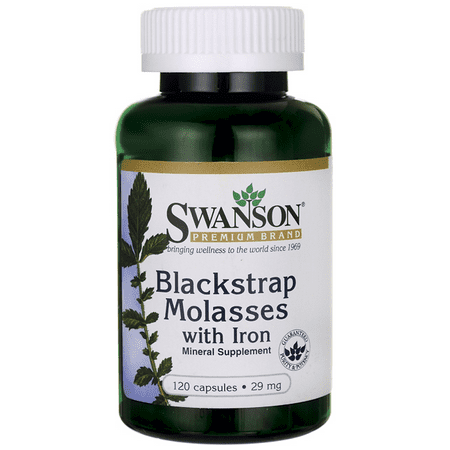 Swanson Blackstrap Molasses with Iron Capsules, 29 mg, 120