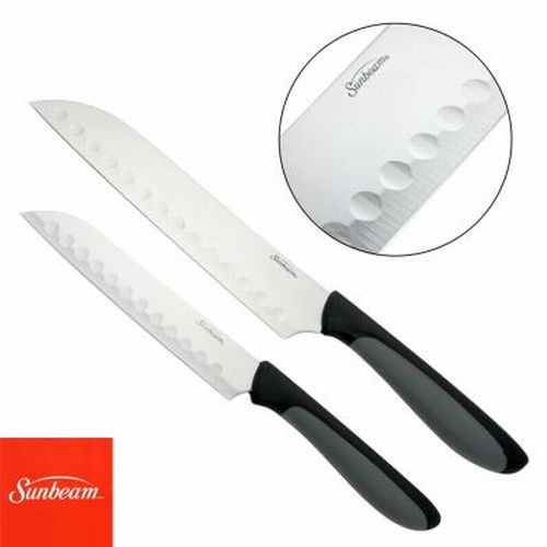 2 Sunbeam Durant Santoku Knife Set Stainless Steel Comfort Non-Slip Grip Handle