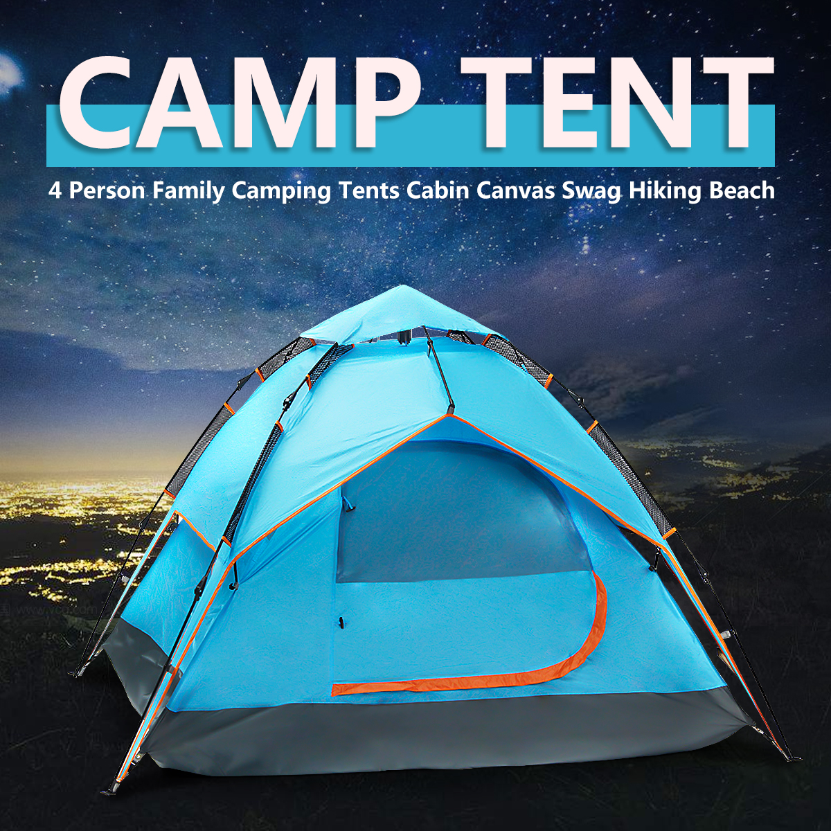 3-4 Persons Waterproof Family Hiking Camping Tent Double Layer Outdoor Sport(fit for two adults, two children) by