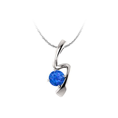 Brilliant Cut Sapphire Freeform Pendant in 14K Gold - image 1 of 2