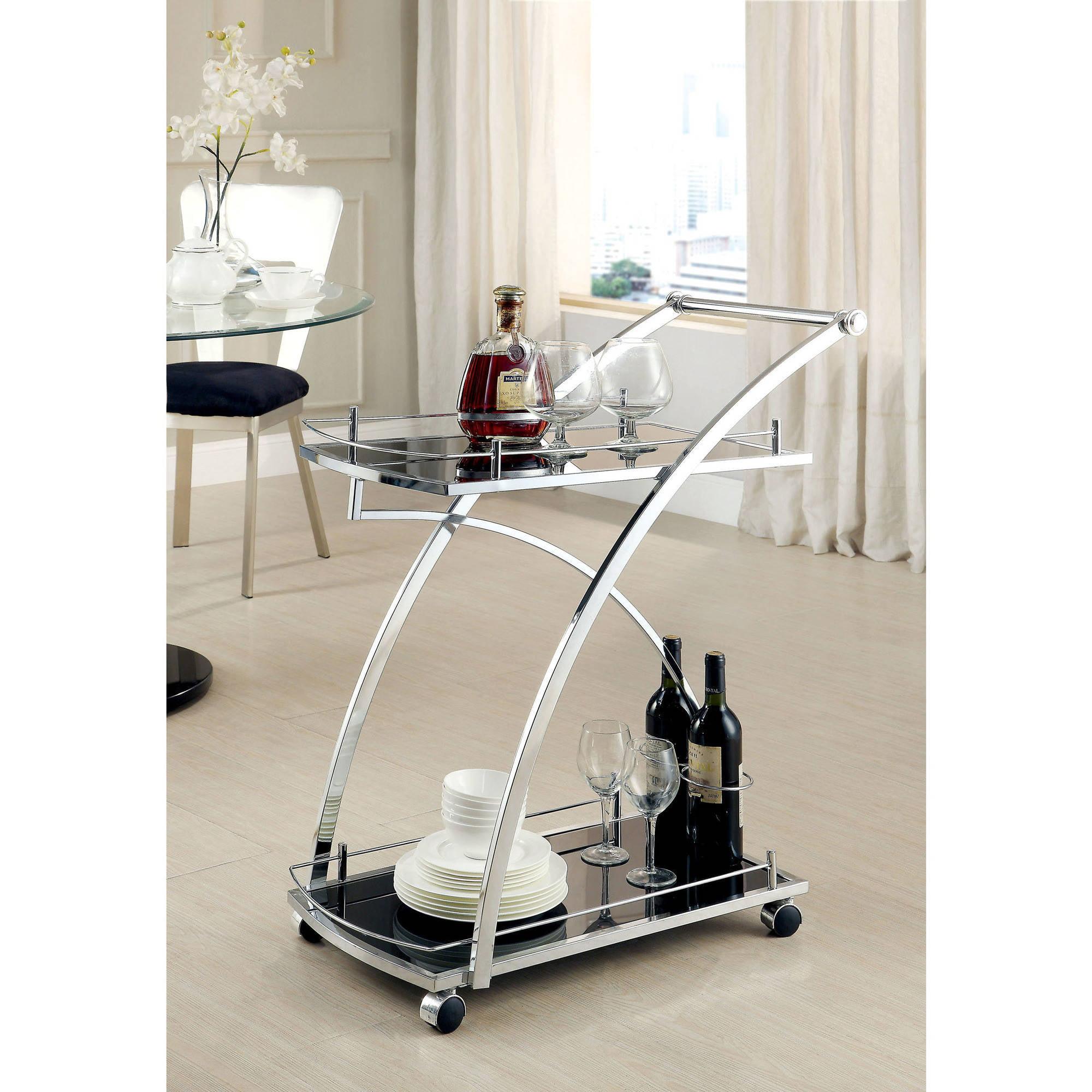 Furniture of America Ingle Modern 2-Shelf Serving Cart, Chrome