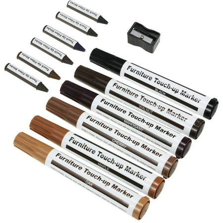 Pyramid Home Decor Set of 13 Wood Touch Up Markers and Sticks Kit, Filler Sticks for Deep Scratches, Furniture Repair Kit Markers, Wood Touch-Up (Best Deep Scratch Repair Kit)