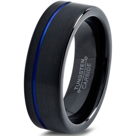 Tungsten Wedding Band Ring 6mm for Men Women Black Blue Off Set Line Pipe Cut Brushed Lifetime (Man Sliding Wedding Ring On And Off)