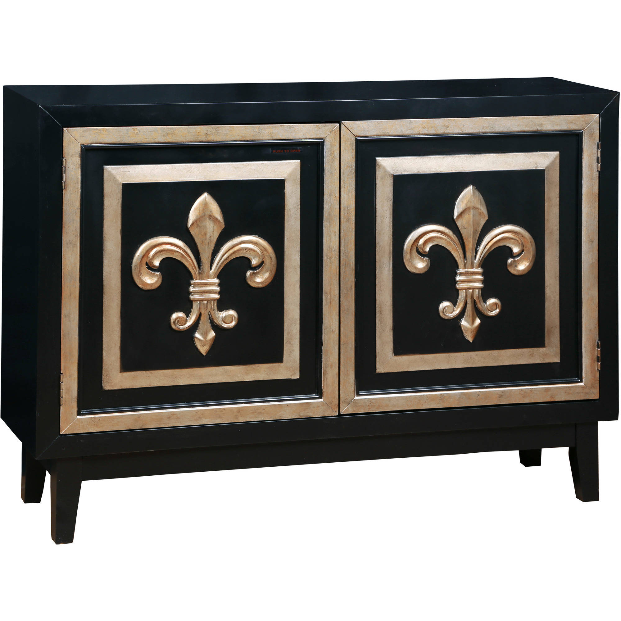 Black and Gold Fluer di Lis Credenza by