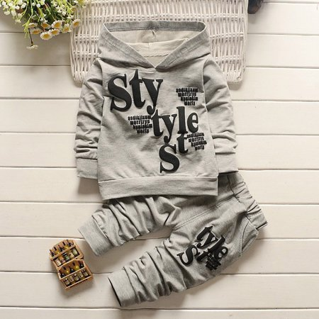 2019 Toddler Baby Boy Style Letter Print Hood Tops Pattern Pants 2PCS Set - Hood Letter Set