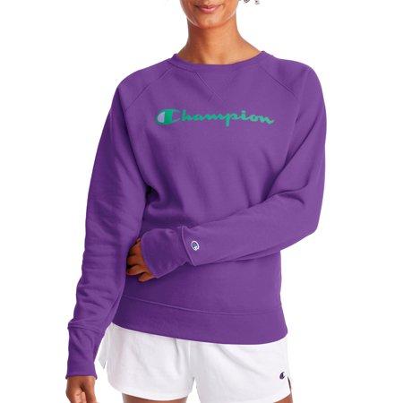 Champion Women's Powerblend Fleece Boyfriend Crew Neck Graphic Sweatshirt Champion Crew Neck Sweatshirt