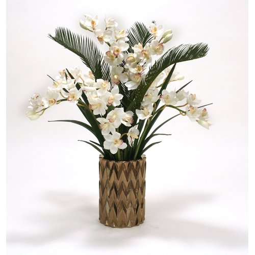 Distinctive Designs Cymbidium Orchids and Cycas Palm and Orchid Foliage in Zig Zag Vase